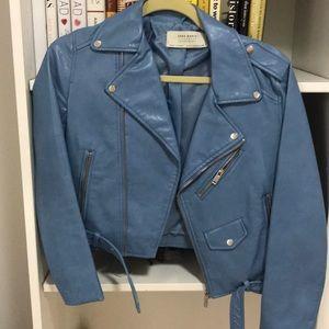 Zara outerwear light blue faux leather jacket